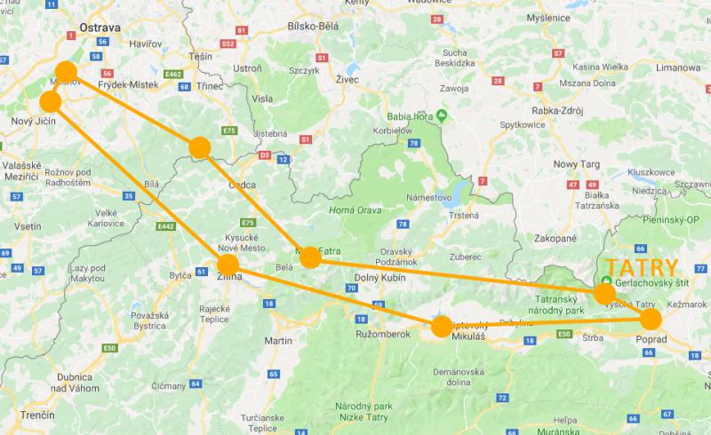 Mapa vyhlídkového letu nad Tatry